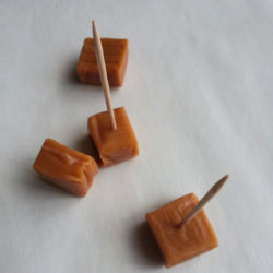 add toothpicks to caramels