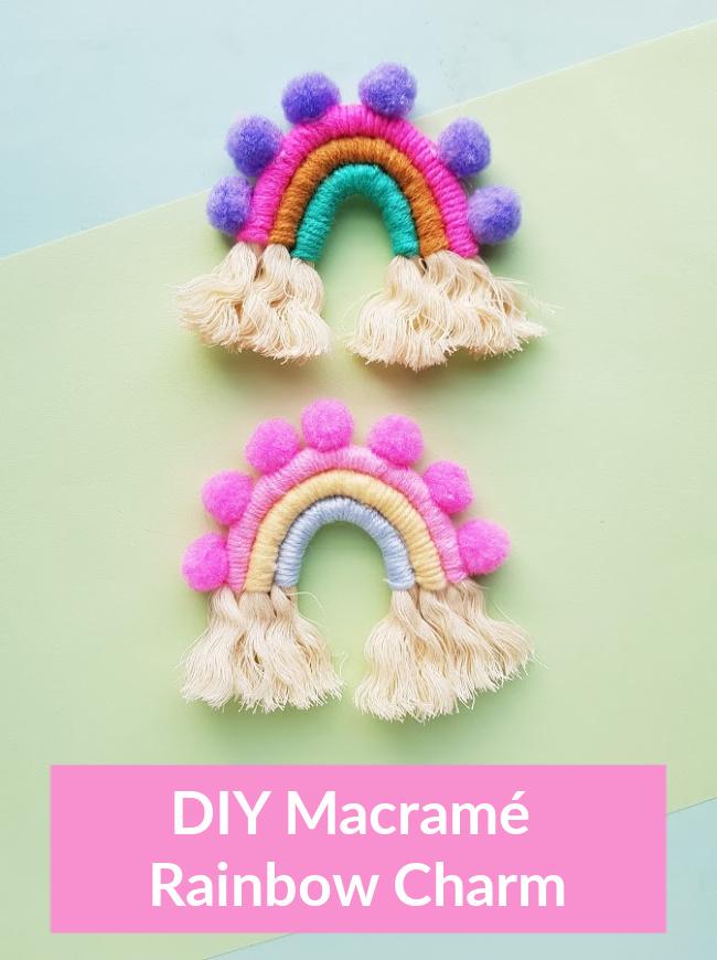 diy macrame rainbow charm craft project
