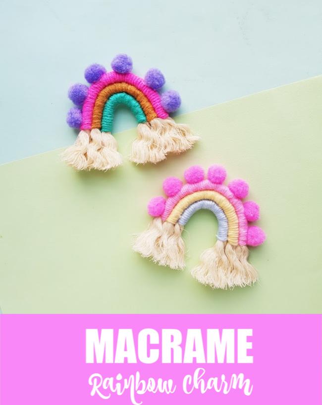 macrame rainbow charm